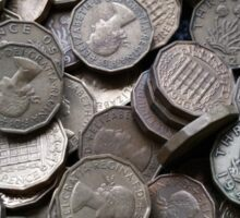 3 Pence coins Sticker