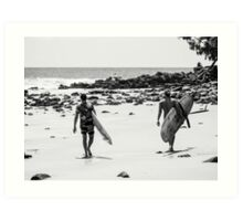 Surfing on the Low Tide : First Point, Noosa Art Print