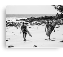 Surfing on the Low Tide : First Point, Noosa Canvas Print