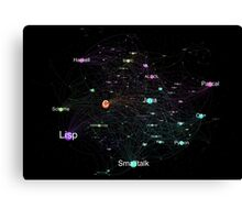 Network Graph of Programming Language Influence 2013 - Black Background Canvas Print