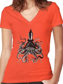 Octopus ink pen Women's Fitted V-Neck T-Shirt