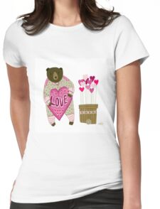 Bear with loveheart Womens Fitted T-Shirt