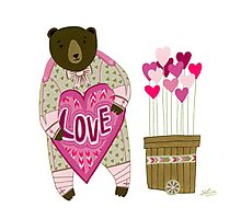 Bear with loveheart Photographic Print
