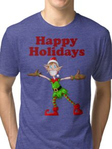 Christmas Elf Spreading Arms And Smiling Tri-blend T-Shirt