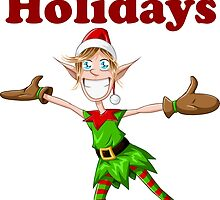 Christmas Elf Spreading Arms And Smiling by Liron Peer