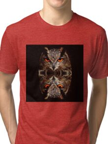 owl reflexion nature wild  animal eagle owl  Tri-blend T-Shirt