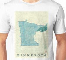 Minnesota State Map Blue Vintage Unisex T-Shirt