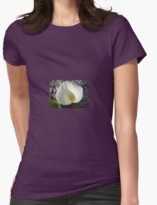 Overhead View of A White Calla Lily Against Pebbles Womens Fitted T-Shirt