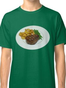 Fillet Steak with Beans and Potatoes on a White Plate Classic T-Shirt