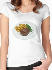 Fillet Steak with Beans and Potatoes on a White Plate Women's Fitted Scoop T-Shirt