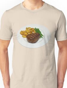 Fillet Steak with Beans and Potatoes on a White Plate Unisex T-Shirt