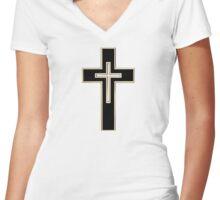 Christian cross Women's Fitted V-Neck T-Shirt