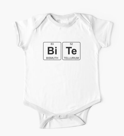Bi Te - Bite - Periodic Table - Chemistry - Chest One Piece - Short Sleeve