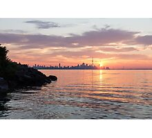 Toronto Skyline - Clearing Clouds at Sunrise Photographic Print