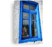 Reflection of a traditional Greek chapel Canvas Print