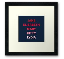 The Bennet Sisters from Pride and Prejudice Framed Print