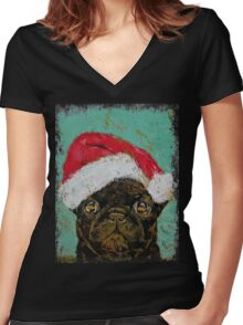 Santa Pug Women's Fitted V-Neck T-Shirt