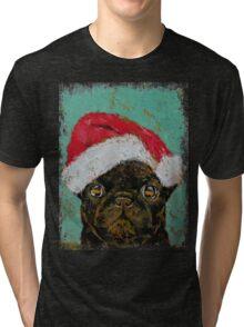 Santa Pug Tri-blend T-Shirt