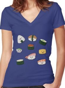 Food - Sushi Women's Fitted V-Neck T-Shirt