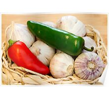 Garlic and Chilli Basket Close-up Poster