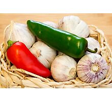 Garlic and Chilli Basket Close-up Photographic Print