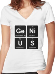 Ge Ni U S - Genius - Periodic Table - Chemistry - Chest Women's Fitted V-Neck T-Shirt