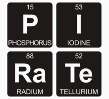 P I Ra Te - Pirate - Periodic Table - Chemistry - Chest Kids Tee