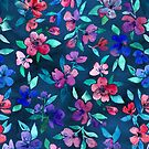 Southern Summer Floral - navy + colors by micklyn