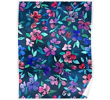 Southern Summer Floral - navy + colors Poster