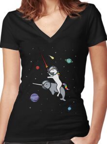 Unicorn Riding Narwhal In Space Women's Fitted V-Neck T-Shirt
