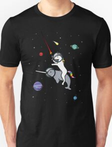 Unicorn Riding Narwhal In Space Unisex T-Shirt