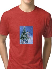 Blue Christmas Tri-blend T-Shirt