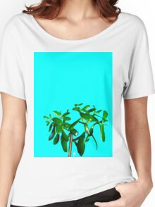 Good Luck Succulent Tree on Sky Blue Women's Relaxed Fit T-Shirt