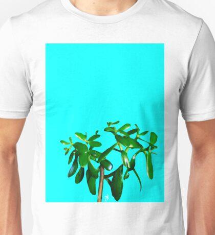 Good Luck Succulent Tree on Sky Blue Unisex T-Shirt