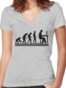 computer evolution Women's Fitted V-Neck T-Shirt