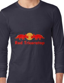 Prehistoric energy drink, Red Triceratop Long Sleeve T-Shirt