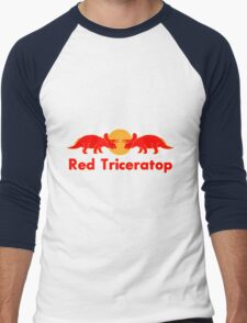 Prehistoric energy drink, Red Triceratop Men's Baseball ¾ T-Shirt