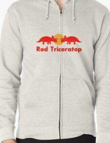 Prehistoric energy drink, Red Triceratop Zipped Hoodie