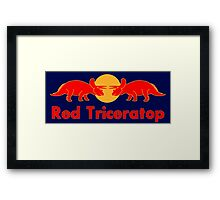 Prehistoric energy drink, Red Triceratop Framed Print