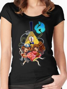 Dipper Mabel and Bill Cipher Women's Fitted Scoop T-Shirt