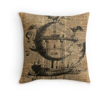 Victorian Steampunk Flying Machine Throw Pillow