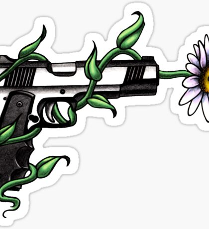 Daisy in Gun Barrel Sticker