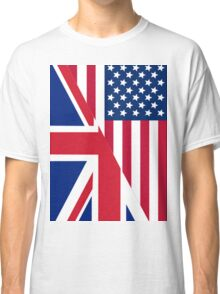 American and Union Jack Flag Classic T-Shirt