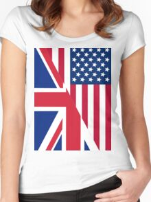 American and Union Jack Flag Women's Fitted Scoop T-Shirt