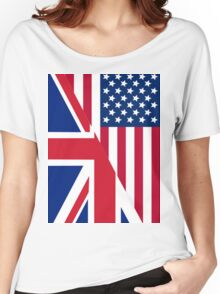 American and Union Jack Flag Women's Relaxed Fit T-Shirt