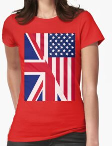 American and Union Jack Flag Womens Fitted T-Shirt