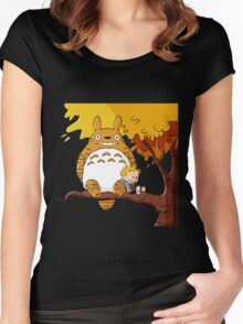 Parody Totoro, Calvin And The Hobbes Women's Fitted Scoop T-Shirt