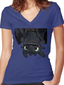 Upside Down Toothless Women's Fitted V-Neck T-Shirt