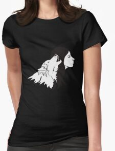 Girl With Wolf Womens Fitted T-Shirt