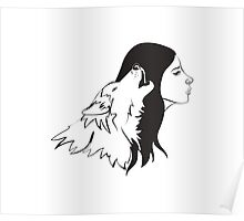 Girl With Wolf Poster